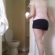 A hidden camera records a pudgy girl pissing, taking a shit, and then wiping herself. Pooping is audible. About 12 minutes in length.