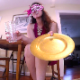 A plump, but attractive masked girl takes a shit while sitting on the edge of a chair onto a plate. She pisses into a glass and serves you her special meal for dinner. 191MB, MP4 file. Presented in 720P HD. About 14 minutes.