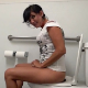 A mature, brunette woman is recorded taking a piss and a runny, explosive shit while sitting on a toilet. The angle is great, and the 720P HD video quality is perfect. No poop shown in toilet bowl. About 6.5 minutes.