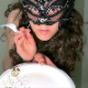 A plump, masked girl takes a huge shit on a plate and pisses into a cup. She dissects her shit with a fork before feeding it to you. Presented in 720P HD. About 4 minutes.