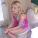A blonde girl named Haley sits down on a toilet, smokes a cigarette and tries to poop. She speaks to some annoying guy who is recording her.  She later sits on a potty chair, farts a few times and pisses. Presented in 720P HD. About 5.5 minutes.