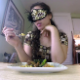 In this dine & dump video, a masked girl eats a meal, then shits it out for you onto a plate and pisses into a glass so you can enjoy the sloppy seconds. Presented in 720P HD. 145MB, MP4 file. About 12 minutes.