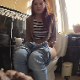 A pretty redhead girl records herself taking a piss while sitting on a toilet and then wiping herself. Over 2 minutes.