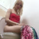 A pretty, blonde Eastern-European girl sits down on a toilet, tells us that she is late for a date, then pisses and shits. Crackling and multiple plops of varying volumes are heard. She stands up to wipe her ass. Presented in 720P HD. About 4.5 minutes.