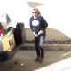 A woman is captured on security video as she takes a huge shit and a piss in a parking lot. She apparently really had to go because the poop comes out before her pants are fully down! Presented in 1080P HD video quality.