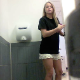 A hidden camera installed in a public restroom at a fast food restaurant records a pretty blonde girl pissing and trying to take a shit. Her butt opens up, but nothing comes out. Over a minute.