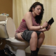 A girl sits down on a toilet after a day at work. She primps in the mirror for a while until the urge to poop strikes. She sits down on the toilet with some audible pooping and wet fart sounds. No poop seen. 108MB. MP4 file. 720P HD. About 10 minutes.