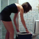A pretty brunette girl gets revenge on her cheating boyfriend by stretching out his shirt under the toilet seat. The girl shits in the toilet, and the shirt catches her poop, which is shown later. 720P HD video. About 3 minutes.