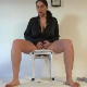 A mature, European woman takes a shit and a piss while sitting on a makeshift potty chair. She wipes her ass before providing us a closer look at her soft poop pile on the floor. Over 4 minutes.