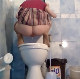 A Russian woman squats over a toilet while taking a piss and a hard, wide shit at the same moment. Vertical format video. About 2 minutes.