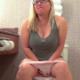 A plump blonde woman wearing glasses sits down on a toilet, takes a splattering, wet shit and a piss, then farts farts repeatedly while trying to push out more shit. More crazy toilet farting! Presented in 720P HD. Over 4 minutes.