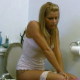 French Canadian beauty, Sarah sits down on the toilet and blows some wet, noisy farts, although there are no obvious pooping sounds as the title implies.