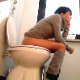 A girl with short brunette hair pisses and takes a shit while sitting on a toilet. Loud, gassy farts are heard with some soft plopping sounds. Her ass must have been a filthy mess because she wipes a lot. About 3.5 minutes.