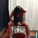 2 Spanish-speaking girls decide to do something bad to their slave. First, they both spit on his food, then take turns shitting on it while sitting on a potty chair. 2 camera angles for a bowlcam type perspective. About 9 minutes.