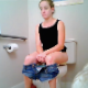 A cute blonde girl is recorded by hidden camera while she takes a shit sitting on a toilet and wipes her ass. Tragically, there is no audio to what could have been an otherwise fabulous video. 720P HD. About 1.5 minutes.