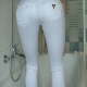 A girl pisses and then shits in her skin-tight white jeans. She later pulls down her pants to reveal a clump of shit between her ass cheeks and in her jeans. Over 2 minutes.