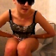 Our Eastern-European, blonde, Sophie, wears sunglasses as she takes a shit into a toilet and wipes her ass. She tells us that her stomach aches. Presented in 720P HD video. Over 6 minutes.