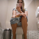 A hidden camera records a pretty girl using a toilet in a public restroom. There are no pissing or shitting sounds, but she wipes her ass thoroughly. About 1.5 minutes.
