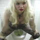 Starla is video-recorded by her female friend as she takes a piss and shit into a toilet. Nice video clip!