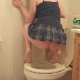An American, blonde woman with tattoos takes a shit while squatting over a toilet. She finishes up while sitting down on the toilet. Finished product is clearly shown in the toilet bowl. Over 5 minutes.