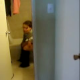 A girl video records her friend on the toilet after peeing & pooping. Judging by the accents, they may be Eastern European.