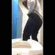 This is a rear view perspective of a woman farting, shitting, and pissing while sitting on a toilet. Visible poop action with audible shitting sounds. She wipes and gives us a glimpse of the toilet bowl while flushing. 720P vertical HD. Over 6 minutes.