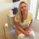 An attractive, plump blonde girl farts, pisses and struggles to take a shit while sitting on a toilet. By the way she repeatedly wipes her ass, she looks like she had some success, although there are no obvious pooping sounds. Over 2 minutes.