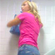 A hidden camera is set up on the floor behind a toilet. It records an unsuspecting blonde girl taking a shit and then wiping herself. This appears to be genuine voyeur material, but poor audio.