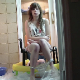 A beautiful Eastern-European girl takes a massive shit while sitting on a potty chair with some guy directly beneath her ass. He takes everything she has to give while barely flinching. 3 camera angles shown. Over 4 minutes.
