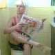 A pretty, blonde girl records herself shitting into a toilet in 2 waves with some pissing. The first shot is a close & nasty angle of a big turd coming out, then she sits backwards on the toilet for another small shit and the final wipe. Over 5.5 minutes.