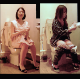 A hidden camera records at least 12 different Asian women peeing while sitting on a western-style toilet in a public restroom. No pooping. Vertical format video. About 13 minutes.