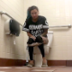 A girl with green-dyed hair sits down on a toilet in a fast food restaurant public restroom. She pisses, farts and takes a shit. All is audible. She wipes when finished. Presented in 720P HD. Over 3 minutes.